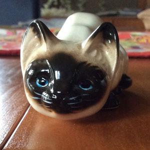 Vintage Siamese Cat Figurine small Crouching Cat